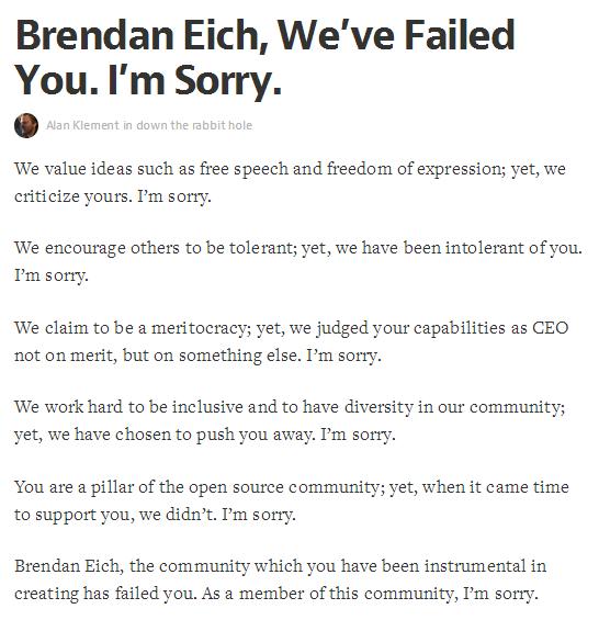 Brendan Eich désolé