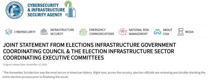 CISA déclaration de conformité des élections de 2020