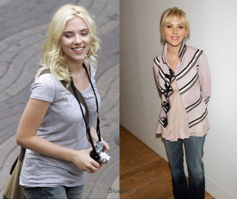 Scarlett Johanson, before and after. No longer curly