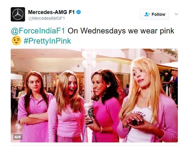Force India et Mercedes sur Twitter