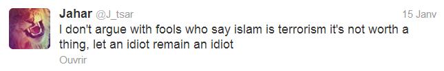 Post sur Twitter au sujet de l'islam