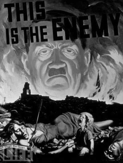 Russian poster showing hitler as a cannibal devouring european countries one after the other he is not presented to his advantage