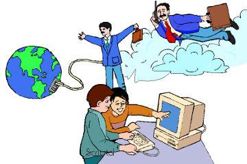 Un homme volant dans les nuages, un second connecté à la planète et deux teens sur un ordinateur, symbolisent le cloud