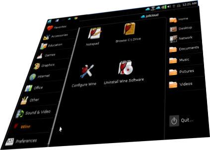 Capture d'écran de l'OS Jolicloud, icônes sur fond noir