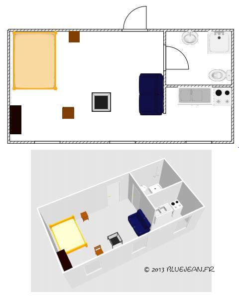 dessiner le plan optimum d 39 un studio ou d 39 un t1. Black Bedroom Furniture Sets. Home Design Ideas