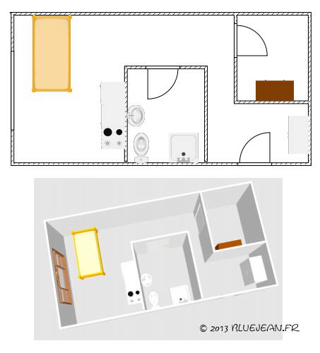 Dessiner le plan optimum d 39 un studio ou d 39 un t1 for Plan amenagement studio 25m2