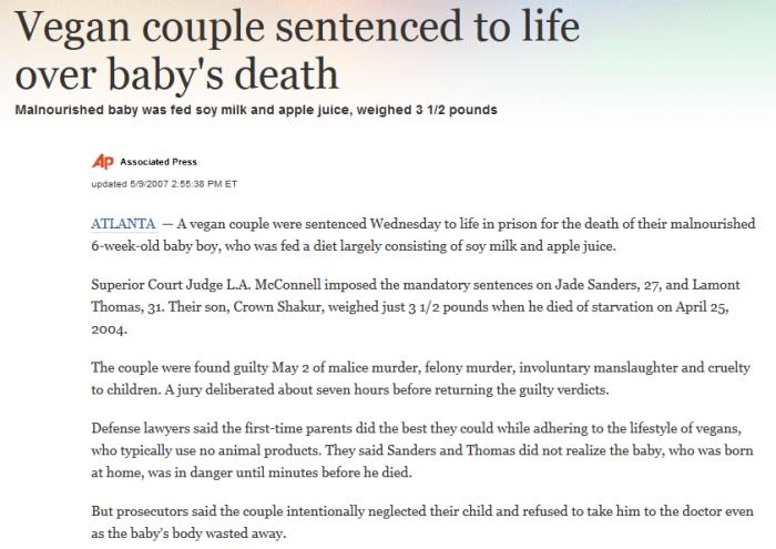 Vegan children dead in the USA