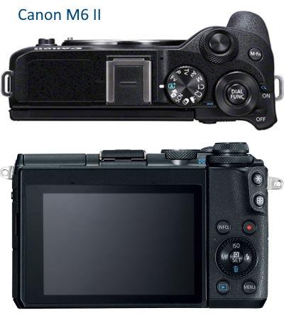 Canon M6 II vu de dessus et arrière
