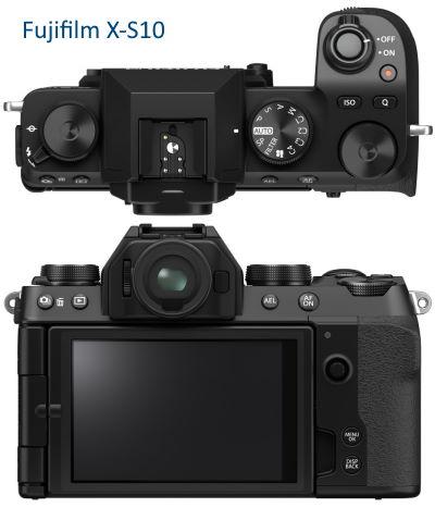 Fujifilm X-S10 vu de dessus et arrière