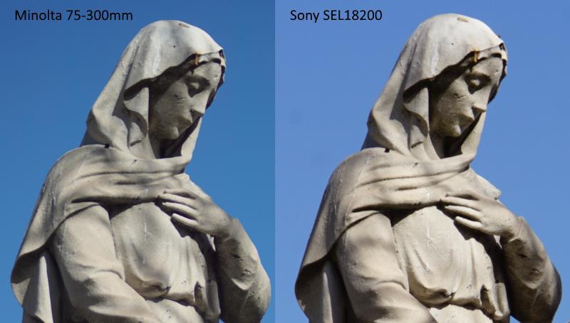 Statue Minolta 75-300mm vs Sony 18-200mm